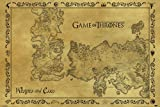 Game of Thrones Westeros and Essos Antique Style Map Epic Fantasy Action HBO TV Television Show Print Poster 24 by 36