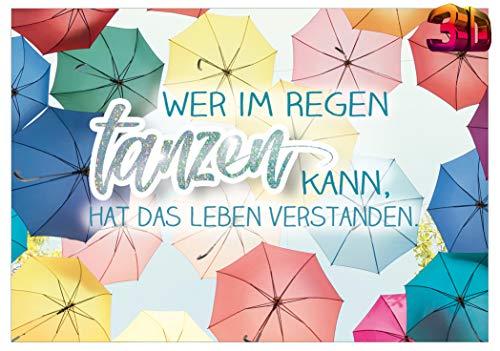 KE - Lustige Geburtstagskarte mit 3D Effekt - Postkarte zum Geburtstag mit allgemeinem Spruch - im Format 150 x 105 mm - Motiv: Tanzen