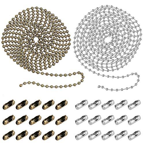 Coolty 2 Stück Perlenkette Verlängerung mit Stecker, 6M Perlen Rollenkette mit 30 passenden Anschlüssen (3,2 mm Durchmesser, Bronze und Silber)