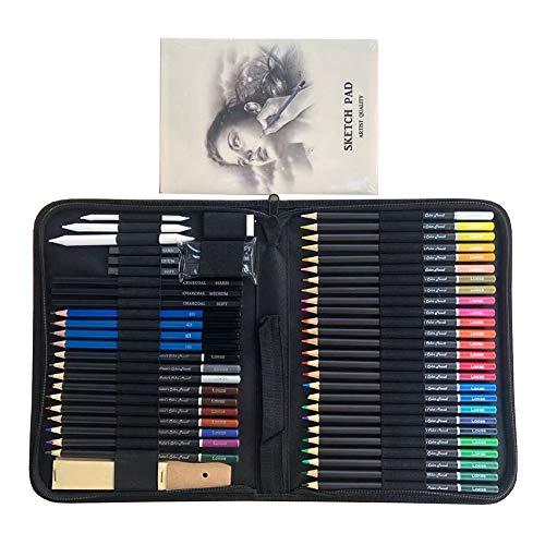 LAIDEPA 55 Matite Colorate Professionali Set di Matite Disegno, Matite da Disegno Matite in Grafite A Carboncino, Materiale Artistico, Set Ideale per Adulti, Bambini, Penna da Disegno E da Colorare,A