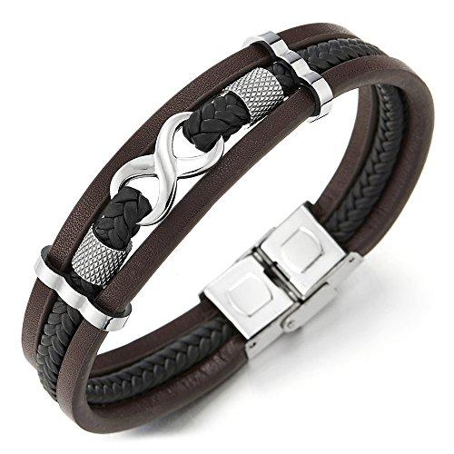 COOLSTEELANDBEYOND DREI Reihen Infinity Liebe Unendlich Number 8 Verflochtenen Braun Schwarz Geflochtene Leder Armband für Herren Damen