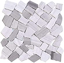 FuStone Decorative Tiles Interlocking Tumbled Pebble Tiles (1-Sheet) Kitchen Floor Bathroom Patio Stone Tile for Indoor and Outdoor Use Natural River Rock Stones FP201-1
