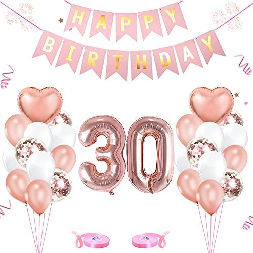 Cumpleaños Globos 30, Decoración de cumpleaños 30 Oro Rosa Globos Numeros 30 Decoracion Foil Globo Número 30 Feliz cumpleaños Decoración, Para cumpleaños decoración cumpleaños fiestas (30)