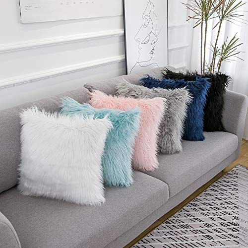 WLNUI Set of 2 Valentines Day Decorative Pink Fluffy Pillow Covers New Luxury Series Merino Style Blush Faux Fur Throw Pillow Covers Square Fuzzy Cushion Case 16x16 Inch