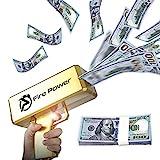 UNKENBO Gold Money Gun Shooter – Prop Guns for Movies That Look Real , Money Gun Make it Rain with Play Money 100 Dollar Bills ( Metallic Gold )