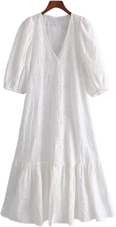 NIUQI Women Cotton White Midi Hollo 2021 Dress Embroidery Max 72% Direct stock discount OFF Summer