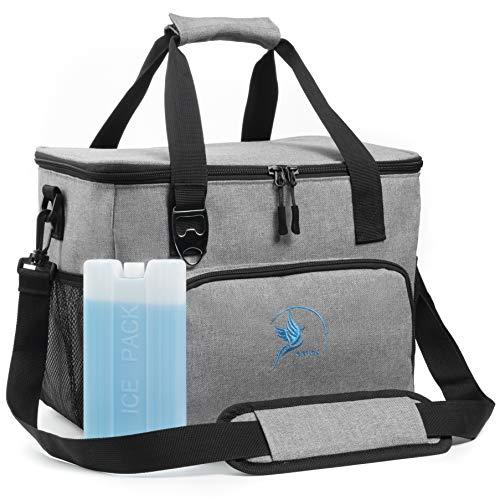 Obics Kühltasche grau 20l klein cool Bag für Arbeit, Lunchtasche Kühlbox fürs Mittagessen mit Seitentaschen für Besteck, kleine Faltbare Isoliertasche Isotasche, Lunchbag mit Kühlakku & Flaschenöffner