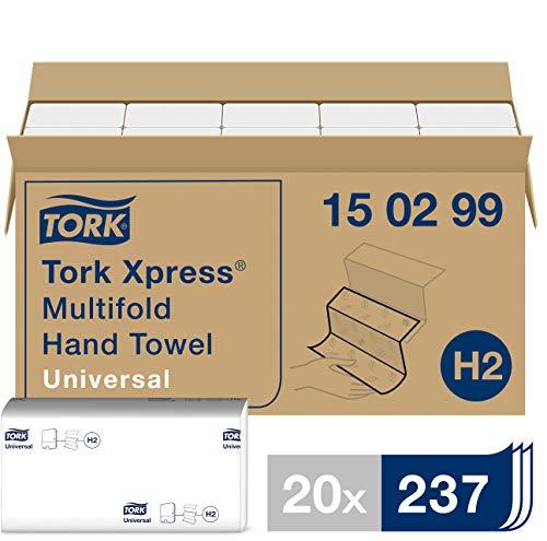Tork Xpress Essuie-mains interfoliés - 150299 - Papiers d'essuyage pliés en Z, qualité Universal pour Distributeur H2 - Essuie-mains en papier, 2 plis, blanc - 20 x 237 feuilles Blanc