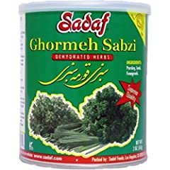 Sabzi Ghormeh Dehydrated herbs mix in a can are suitable for Ghormeh-Sabzi recipes. Just soak in water and its ready to go! Ingredients: Parsley, Leek and Fenugreek 100% Natural / Kosher: RCC Packaged in USA Net Wt: 2 oz