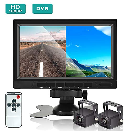 Podofo Backup Camera and Monitor Kit, HD 1080P, 7'' LCD Dual Split Screen, Reversing Rear View Camera Support Color Night Vision, DVR, SD Card, IP68 Waterproof for Trucks, Trailers, RVs, Campers backup Cameras Vehicle