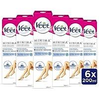 Veet Crema Depilatoria Corporal para Mujer con Aloe Vera y Vitamina E, Pieles sensibles,  6 x 200 ml, hasta 20 Semanas de Suavidad