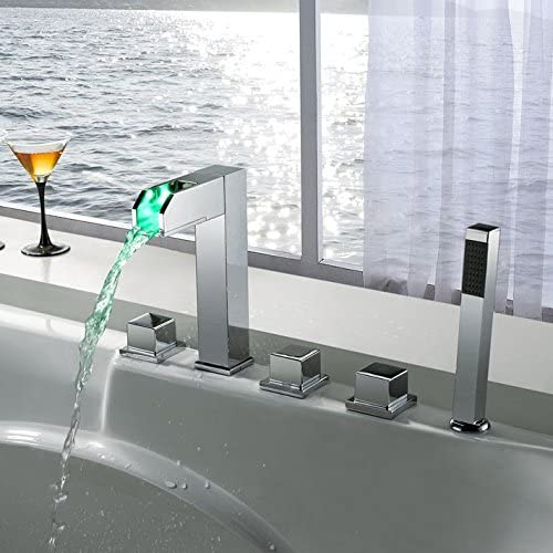 Lovedima 5-Hole LED Bathroom Waterfall Tub Bathtub New arrival 4 years warranty Faucet Roman