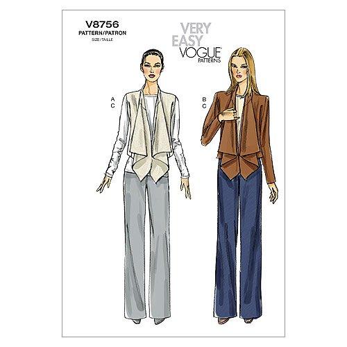 VOGUE PATTERNS V8756 - Patrones de Costura para Conjuntos de pantalón y Chaqueta de Mujer (Talla B5: 38-46)