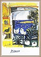 ポスター パブロ ピカソ The Pigeons 額装品 ウッドベーシックフレーム(オフホワイト)
