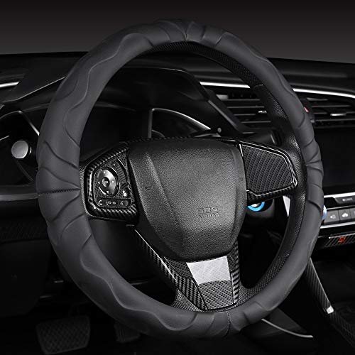 Ergonomic Microfiber Leather Steering Wheel Cover with Grip Bumps, Black, 15 Inch Standard Steering Wheel Cover for Car, Truck, SUV Automotive Interior Decoration Sports