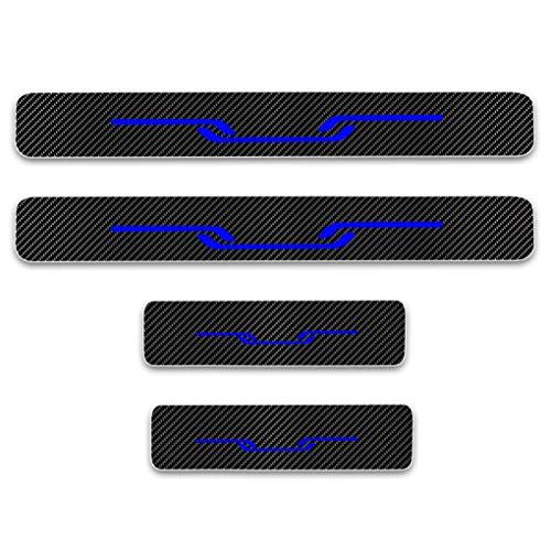 Für Golf 4D Einstiegsleisten Schutz Carbon Fiber Reflektierend Aufkleber Kratzschutz Pedal Schwelle Abdeckung Auto Styling 4 Stück Blau