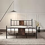 Hilero Full Bed Frame with headboard and Footboard, Metal Bed Frame Full Size, Heavy Duty Platform Mattress Base Support No Box Spring Needed, Black