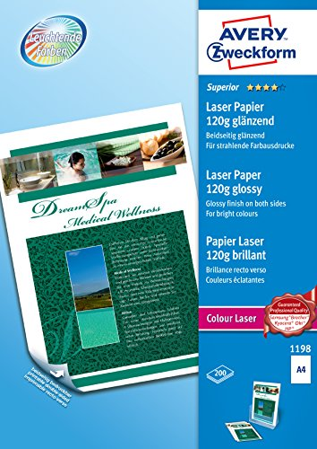 Avery Zweckform 1198 Photo Paper A4 Printable Both Sides 120 g for Colour Laser Printers Pack of 200 Sheets