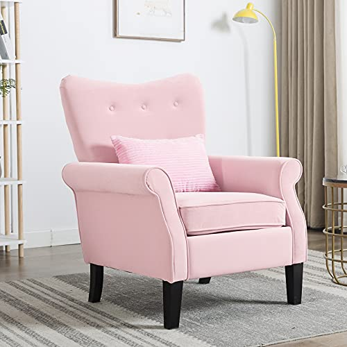 Artechworks Tufted Upholstered Accent Arm Chair, Comfy Single Sofa Club Chair for Living Room, Bedroom, Home Office, Hosting Room,Pink Color