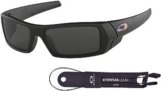Oakley Gascan OO9014 Sunglasses For Men+BUNDLE with Oakley Accessory Leash Kit (Matte Black/Grey/USA Icon, 61)