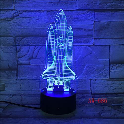 suhang ruimteschip 3D klein nachtlampje 7 kleuren creatieve vliegtuigen visuele bureaulampen USB kinderlamp 7 Colors Met A controller.