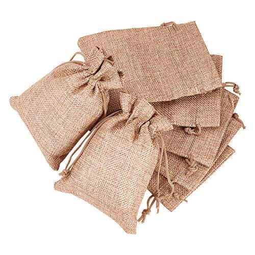 BENECREAT jute tassen met trekkoord cadeauzakje voor bruiloft en doe-het-zelf handwerk 14 x 10cm linnen