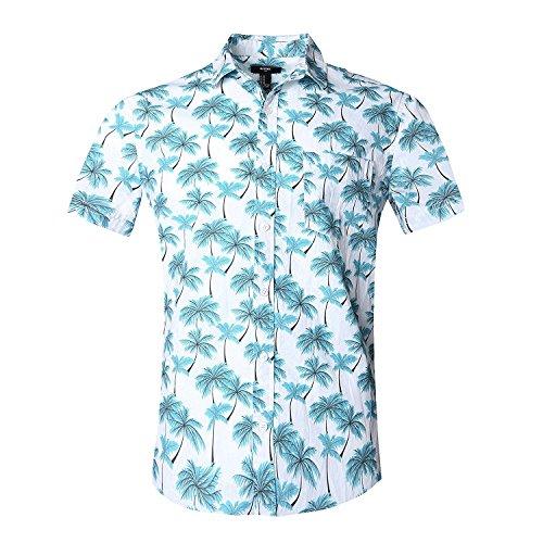 NUTEXROL Camicia Hawaiana per Uomo, Manica Corta, Stampata con Palme, per Estate, Blu, XXL