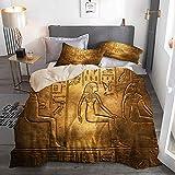 PbbrTK Bettwäsche Set,Mikrofaser,Beige,Ägyptische Hieroglyphen auf der Tutanchamun-Ausstellung in Bratislava,1 Bettbezug 220 x 240cm + 2 Kopfkissenbezug 50 x 80cm