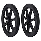 """Marathon Industries 92008-2 Pack Flat Free Marathon 20"""" Spoked Tire Assembly Replacement for Rubbermaid, 2 Pack, Black"""