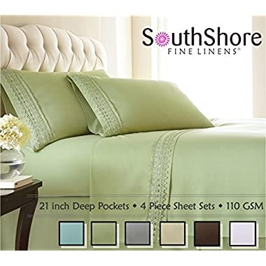Southshore Fine Linens® 4-piece 21 Inch Deep Pocket Sheet Set with Beautiful Lace - SAGE GREEN - Queen