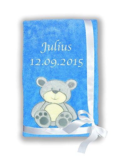 Amilian® Kuschlige Babydecke SUPER FLAUSCHIG mit Namen und Datum bestickt Kinderdecke (B3)