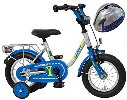 Bachtenkirch Kinderfahrrad Blau/Silber 12 Zoll Polizei mit Fahrradhelm (410-PZ-40)