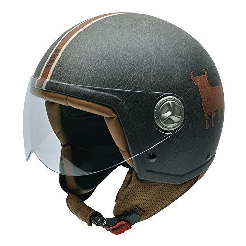 NZI Zeta Cuir casque de moto (taureau CUOIO Vert, xx-pequeña)