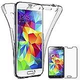 ebestStar - Compatible Coque Samsung S5 G900F, Galaxy S5 New G903F Neo Etui Housse Silicone Gel Intégrale Avant et Arrière, Transparent + Film Verre Trempé [Appareil: 142 x 72.5 x 8.1mm, 5.1'']