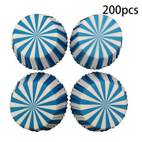 XFEOMBQ Blauw En Wit Gestreepte Wegwerp Bakkop, Veilig Gebruik van Inkt En Papier Waterdichte Olie Papier Beker Gevormd Papier Bekers, Taarten, Muffins, Cupcakes En Snoepjes