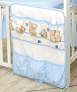 PRO COSMO Nursery Cot Tidy Organiser with Pockets   8  Blue Teddie