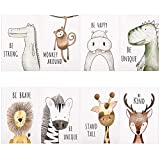 Phoetya Animal Wall Pictures Unframed,8 Pack Baby Jungle Theme Nursery Decor Pictures,Animal Wall Murals Print for Kids Bedroom Living Room Bathroom,21x30cm