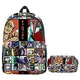 Chainsaw Man Backpacks Set for School Students Kids Adults Anime School Bag Shoulder Bag Bookbag Daypack Laptop Bag (M,One Size)