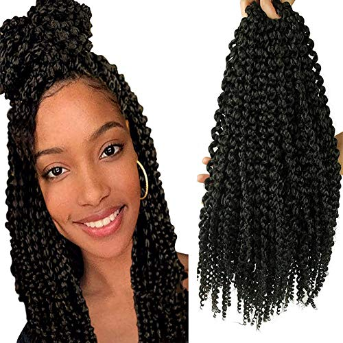 18 Inches Senegalese Spring Twist Crochet Braids with Curly Ends 3D Curly Senegal Twists Synthetic Hair Extension Small Mambo Twist Hair(5Packs,1B#)