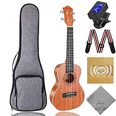 RANCH Matte Beginner Ukulele Starter Nylon Samll Guitar Bundle Gig Bag Tuner