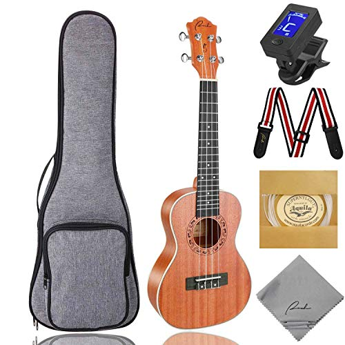 Ranch Concert Ukulele 23 inch Professional Wooden Ukelele Kit with Free Online Lessons, Gig Bag, Tuner, Strap, Aquila Strings Set, Small Starter Hawaiian Guitar Instrument Bundle, Ukalalee