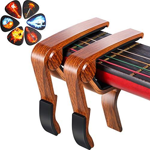 2 Piezas Cejillas de Guitarra Color de Palisandro con 6 Piezas Púas de Guitarra de Llama para Ukulele Mandolin Banjo Accesorios de Guitarra Acústica Clásica