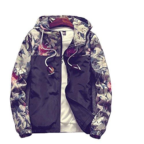 Banana Bucket Floral Bomber Jacket Men Hip Hop Slim Fit Flowers Bomber Jacket Coat Men's Hooded Jackets(US L) Label Size 3XL Black
