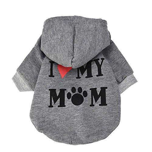 RETUROM Ropa para Mascotas, Amo a mi mamá Letra Impresa Camiseta Ropa para pequeño Perro Mascota Cachorro (M, Gris)