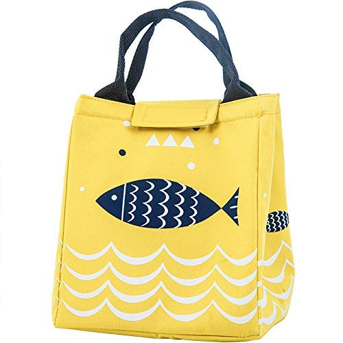 Naranqa Insulated Lunch Bag Reusable Lunch Box Cute Canvas Fabric with Aluminum Foil Printed Lunch Tote Handbag Fordable for WomenMenSchool Office Yellow Fish