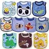 Yafane Baby Lätzchen Wasserdicht Weich 10er Babylätzchen aus Baumwolle mit Klettverschluss für Baby Mädchen Kleinkinder (Jungen)