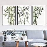 VCFHGVG Cuadros de Arte de Pared de bambú Pinturas en Lienzo Impresión de póster Pinturas nórdicas sobre Lienzo para Sala de Estar Dormitorio Decoración del hogar 60x80cmx3 Sin Marco