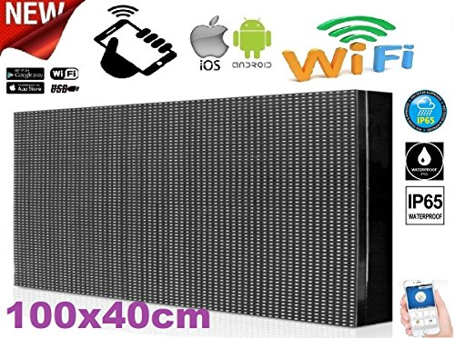 Enseigne lumineuse à LED WIFI pour extérieur IP65inscription personnalisée coulissante blanche Tableau magasin 100x 40cm