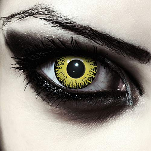 Gelbe farbige Pennywise Kontaktlinsen ohne Stärke für Halloween Kostüm, 2 Stück, Designlenses, Model: Yellow Fear
