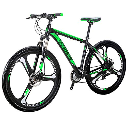 "OBK X9 29"" Mountain Bike Lightweight Aluminum Frame Front Suspension Daul Disc Brakes 21 Speed Mens Bicycle 29er XL (GREEN)"
